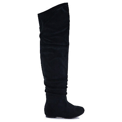 NEW Women Faux Suede Over The Knee High Wide Calf Pull On Slouch ...