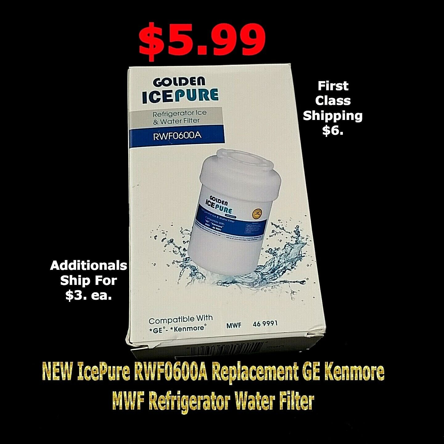 1-pack IcePure RFC0600A Water Filter Replacement Cartridge