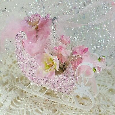 Shabby pink victorian christmas sleigh ornament chic roses feathers glitter NEW