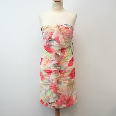 JS Boutique Floral Watercolour Ruched Strapless Dress, 6, Unworn + Tag, £190 RRP