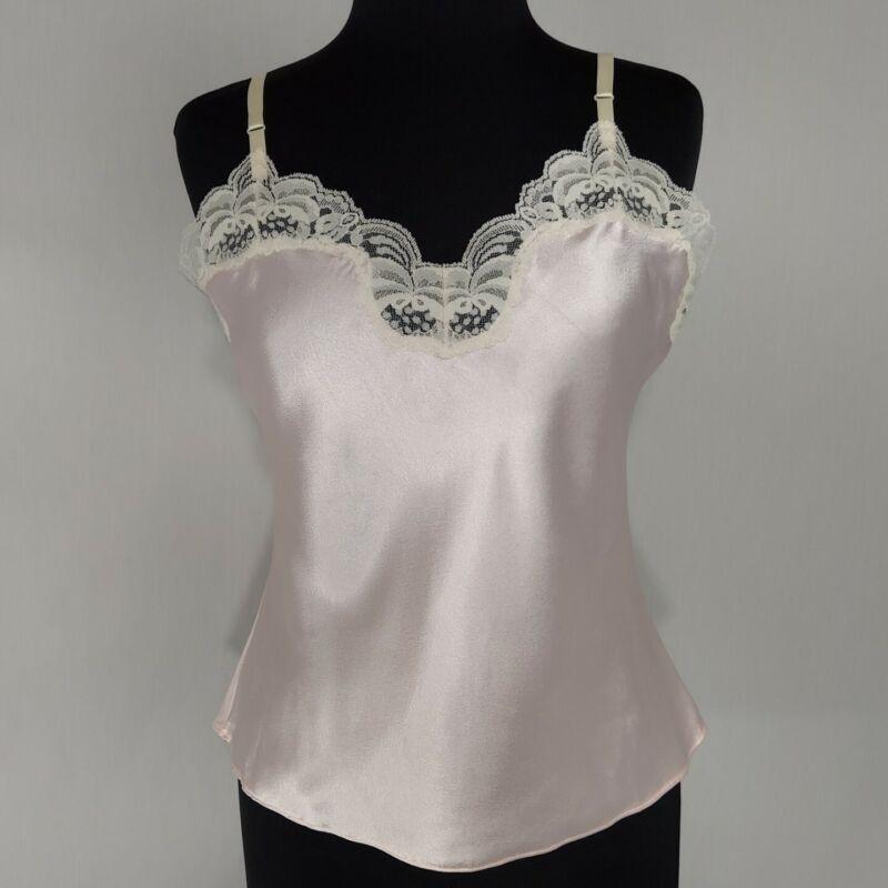 Vintage Camisole Top Womans Medium Lace Ivory Cream Pink Silky Satin Adjustable
