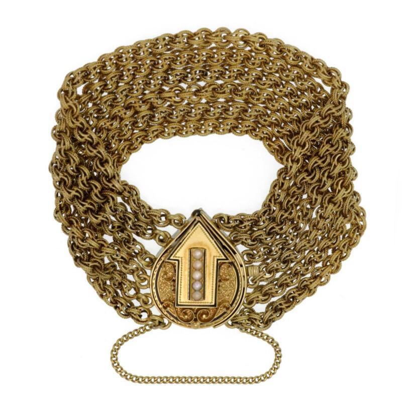 Victorian Pearls 14k Yellow Gold Arrow Enhancer 6 Strand Chain Bracelet