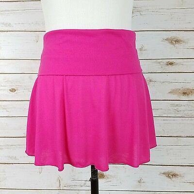 Hula Honey Cover Up Skirt LARGE Solid Hot Pink Soft Stretch Fold Over Waist (Pink Hula Skirt)
