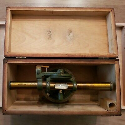 Antique David White Transit Wc.f. Pease Antique Wood Box Brass Telescope Survey