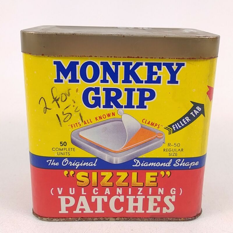 Monkey Grip Sizzle Tire Repair Patches Tin w/ Content - For Decoration Only