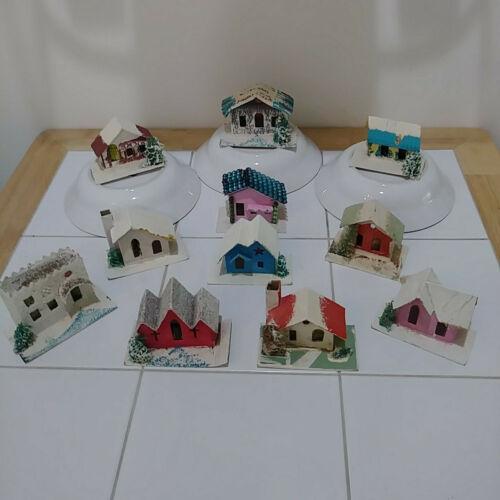 11 Vintage Christmas Village Mini Mica Cardboard Putz Houses Japan