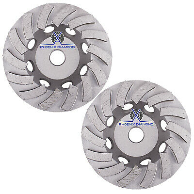 2pack 7 Turbo Diamond Grinding Cup Wheel For Concrete 24 Segs - 58-11 Threads