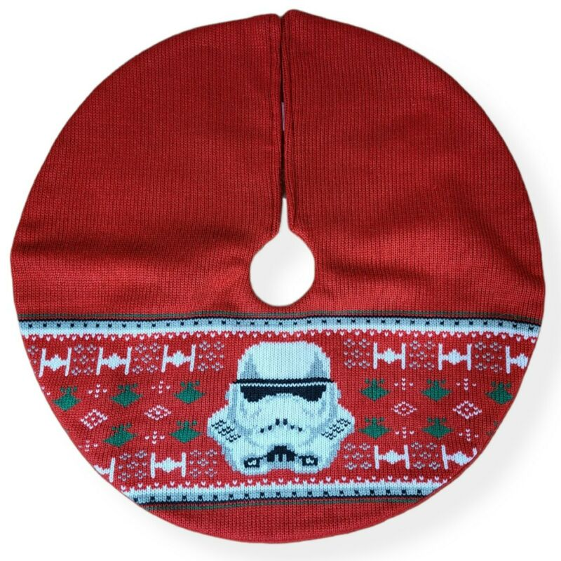 "Disney Star Wars Stormtrooper MINI Christmas Tree Skirt 17.5"" Diameter Red Knit"