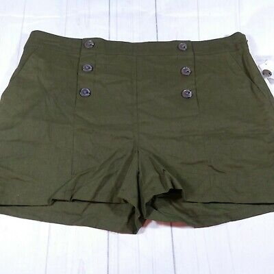 Attention Women Forest Green Faux Button Fly Dress Shorts Size M - A7175