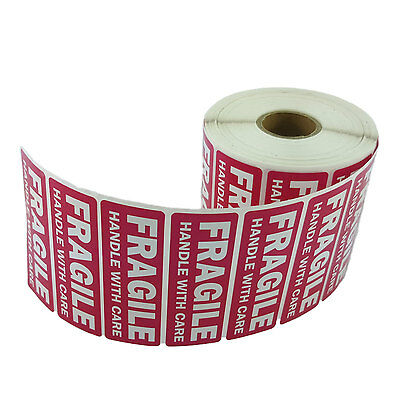 1 Roll 1 X 3 Fragile Handle With Care Stickers 1000 Per Roll - Waterproof