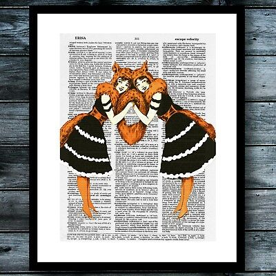 Vintage Dictionary Art Poster Curious Print Halloween Foxy Lady Twins Wall Decor