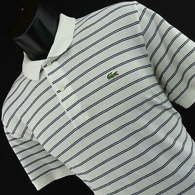 Mens Lacoste White Striped Golf Polo Shirt Size Europe 5 US Large L Short Sleeve