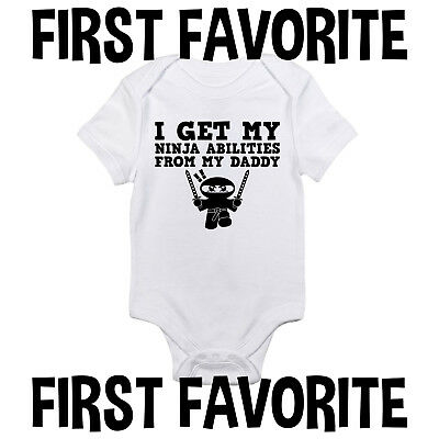 Ninja Abilities Daddy Baby Onesie Shirt Shower Gift Dad Newborn Clothes Gerber