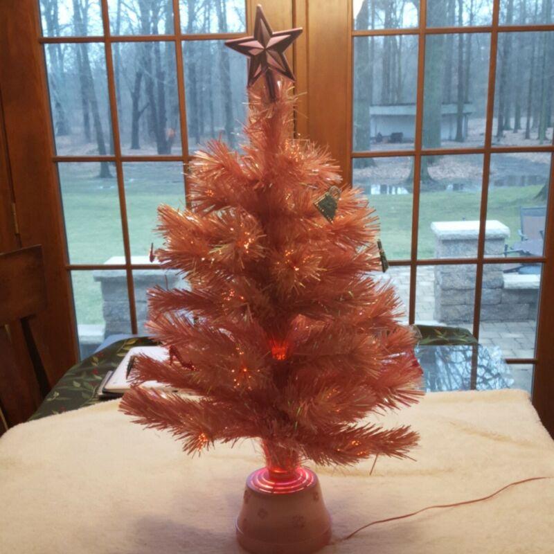 Barbie Twinkle Lights Pink Holiday Tree Fiber Optic 2002