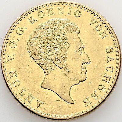 LANZ Sachsen König Anton 10 Taler Gold 1836 Dresden Krone Wappen Grohmann RRR@35