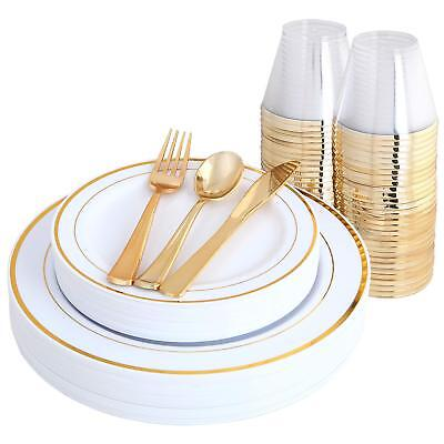 25 guest/150 pc. plastic plate wedding party disposable and silverware&gold set