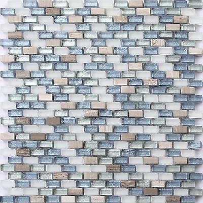 White Brown Blue Silver Stone Glass Mix Bathroom Glass Mosaic Wall Tiles MT0125