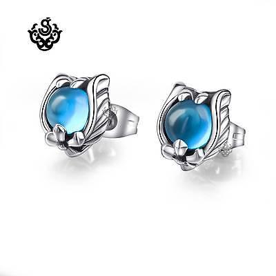 Silver stud blue cz fleur-de-lis soft Gothic vintage night owl claw earrings