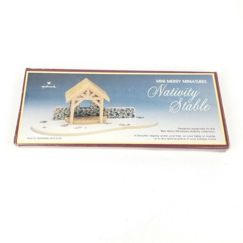Hallmark Mini Merry Miniature Nativity Set 1988 Crèche Stable