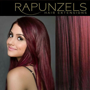 Burgundy-red-hair-weave-weft-Human-remy-hair-extensions-16-20-24-lengths