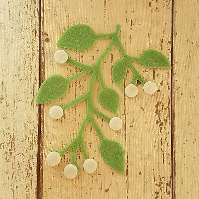 Large felt Mistletoe & Berries, die cut for craft and embellishment