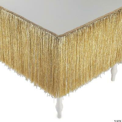 Gold Color Dangling Tinsel Table Skirt Thanksgiving Christmas Party Decor 9-ft