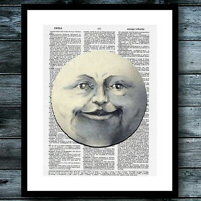 Vintage Dictionary Art Poster Moon Print Science Steampunk Modern Wall Decor - Science Decor