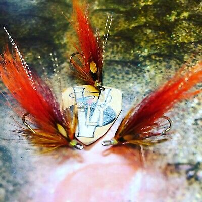 3 V Fly Size 10 RV Signature Hot Orange Flamethrower Double Salmon Flies
