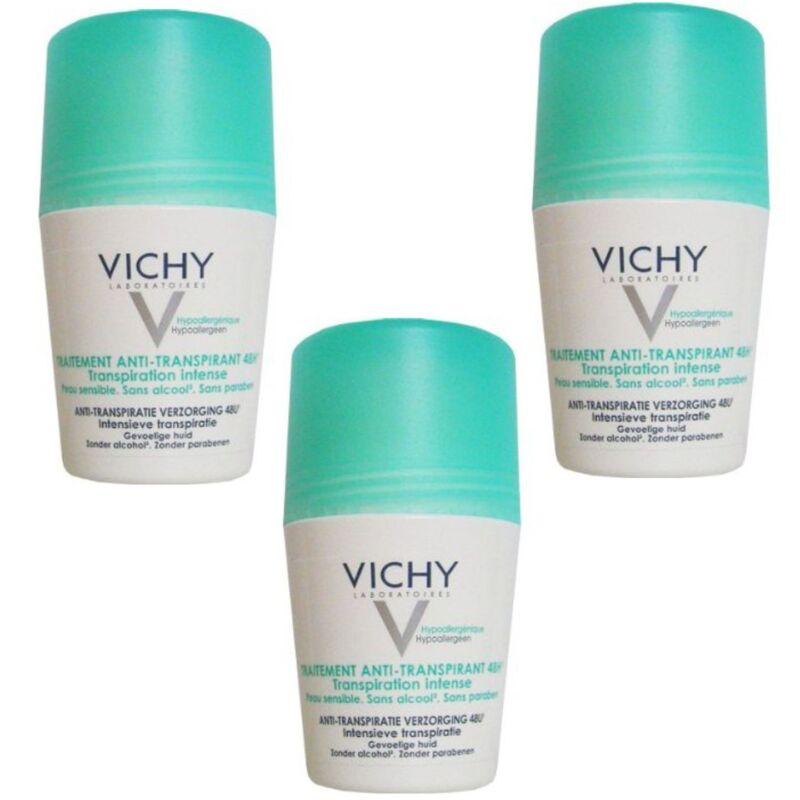 Vichy 48H Intensive Anti-perspirant Deodorant Roll-on 3 x 50ml   US Seller