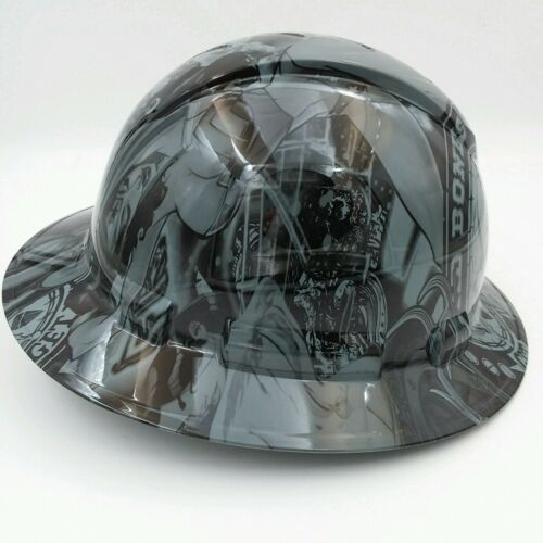 FULL BRIM Hard Hat custom hydro dipped , OSHA approved BAD BONES CLUB GREY !! 2
