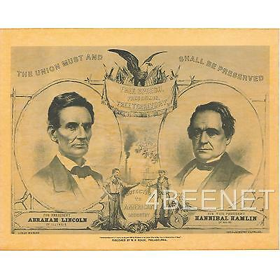 Abraham LINCOLN & Hamlin CAMPAIGN POSTER (rolled NEVER folded) Looks & Feels Old