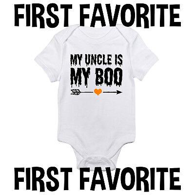 Uncle Is My Boo Baby Onesie Shirt Halloween October Shower Gift Newborn Gerber