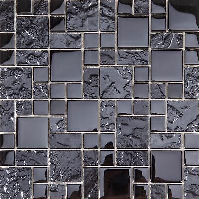 Black Mosaic Tile (Textured and Smooth Black Glass Mosaic Tile Sheet (GTR10144))