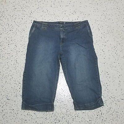 Women's IZOD Denim Capri Jeans ~ Sz 12 ~ Blue ~ Stretch ~ Cotton Blend Izod-denim