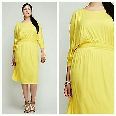 Lane Bryant Plus Size Cold Shoulder Day Sun Dress Yellow 26 28 Summer Spring