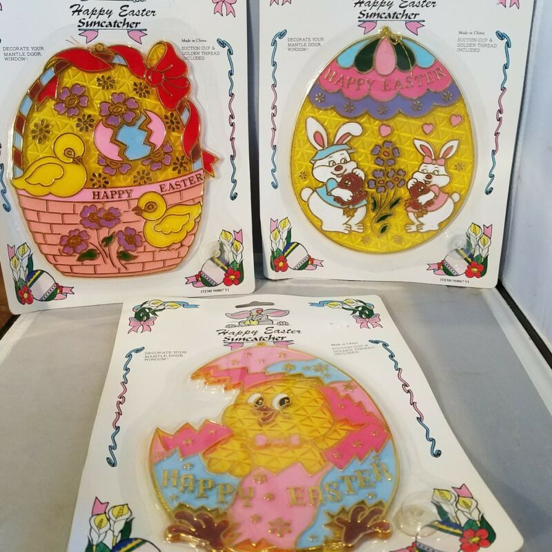 3 Vintage Assorted Happy Easter Suncatchers c