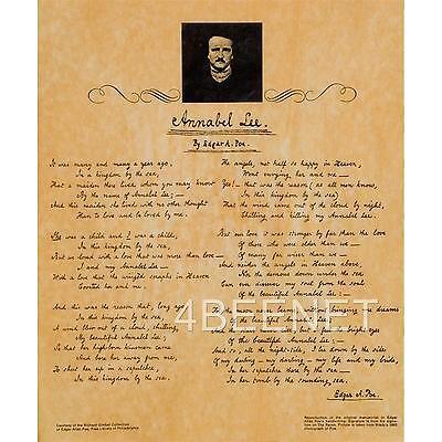 EDGAR ALLEN POE manuscript reproduction ANNABEL LEE rolled parchment poster NEW