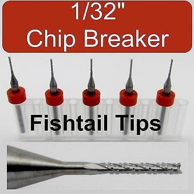 Five 132 Router Bits - Carbide - Chip Breaker - Fish Tail Tip Cnc Dremel Lu