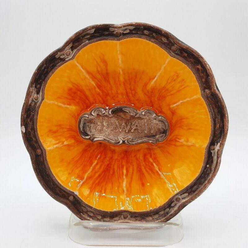 Vintage Treasure Craft of Hawaii Kahului Maui Orange and Yellow Trinket Dish