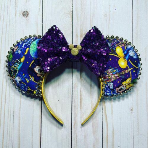 WDW 50th Anniversary Disney Mickey Minnie Mouse Ears Handmade Headband Epcot TOT
