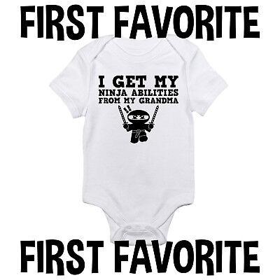 Ninja Abilities Grandma Baby Onesie Shirt Shower Gift Newborn Clothes - Ninja Onesie