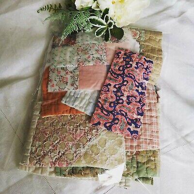 Hand Dyed Vintage Fabric Antique Quilt Durham Slow Stitch Patchwork Craft Pack 3