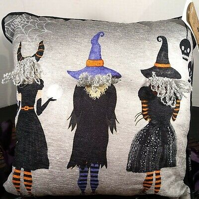 """🧙Witch Crafters Halloween Witch Trio Backside 2Good1Bad Throw Pillow 12""""x12""""NEW"""