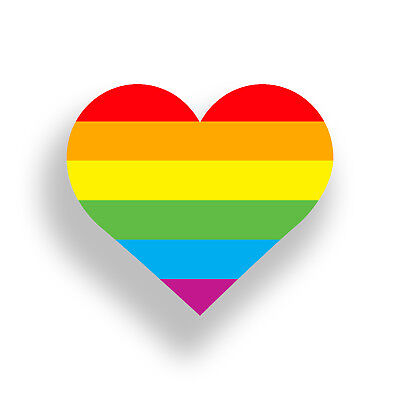 Gay Pride Rainbow Flag Heart Sticker LGBT Cup Laptop Car Window Bumper 4