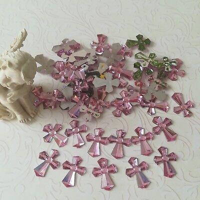 50 edle rosa Kreuze Konfirmation Mädchen Taufe Deko Tischdeko Strass 45