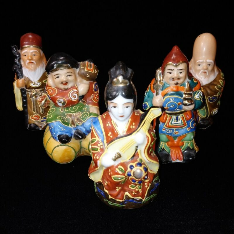Vtg 5 Japanese Good Luck Immortal God Figurines Handpainted Moriage Satsuma