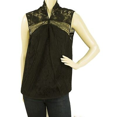 Z Spoke by Zac Posen Black Floral Lace Cotton Sleeveless Top Blouse size 8