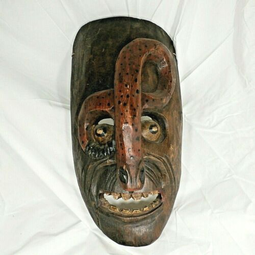 Rare Hand Carved Painted Vintage Wood Dance Mask w Red Snake Folk Art Mexico