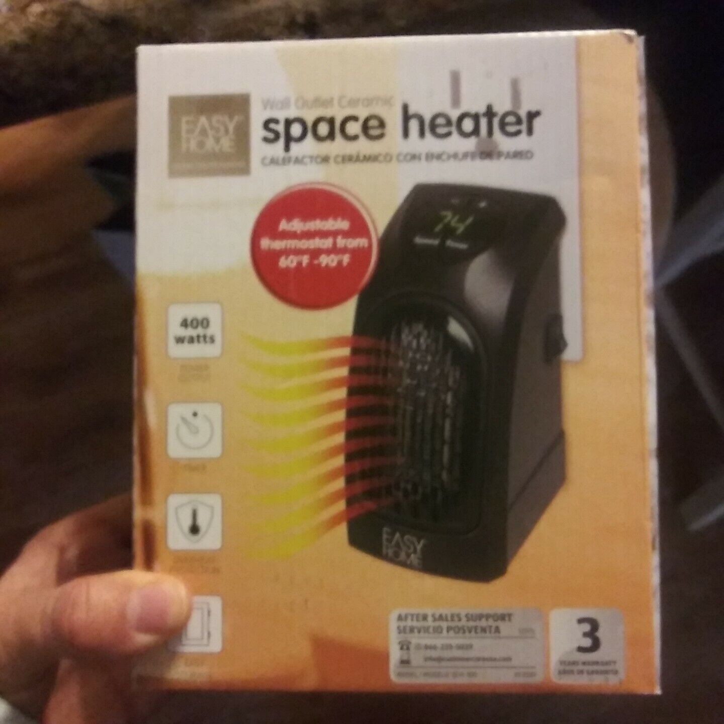 Easy Home Wall Outlet Ceramic Space Heater mini digital NEW