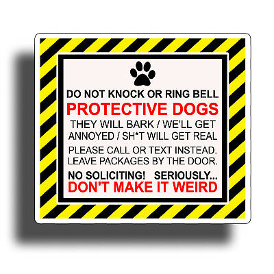 Protective Dog Sticker No Soliciting Window Door Vinyl Decal K9 Pet Home Graphic
